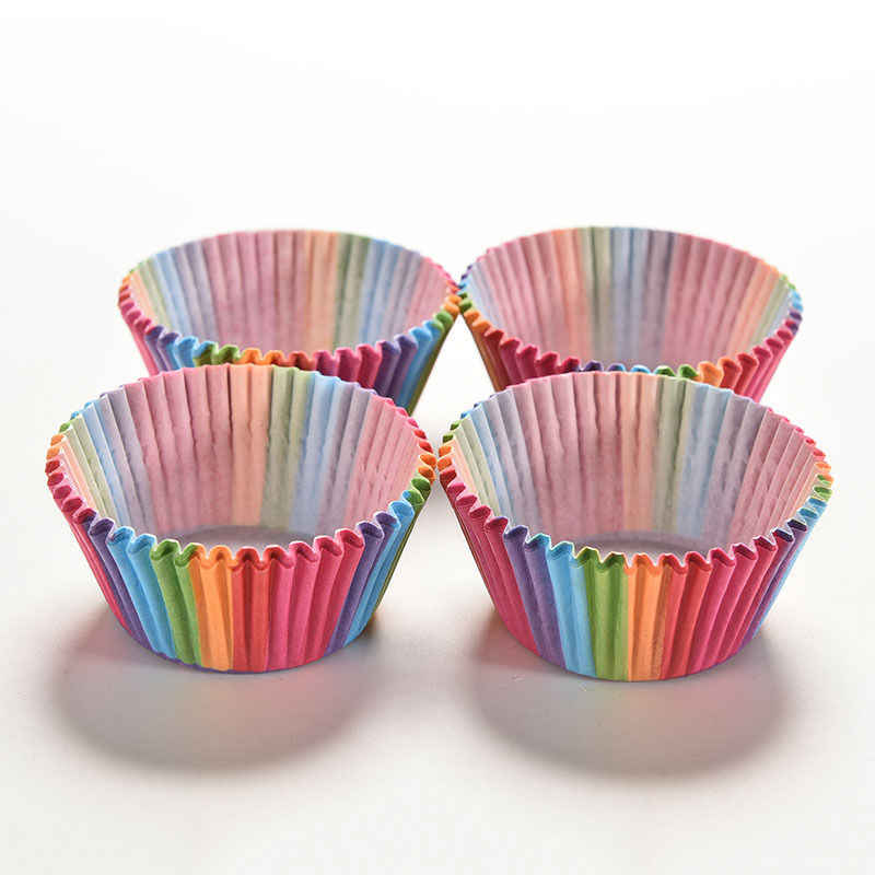 100 piezas Arco Iris pastel papel taza Mousse bandeja cupcakes envoltorios cumpleaños fiesta boda decoración pastel hornear suministros PVC en caja