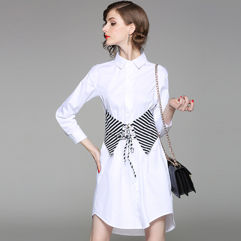 Kadın Giyim'ten Elbiseler'de Ücretsiz kargo Yeni Bahar Sonbahar Elbise Kadın turn aşağı Yaka Pamuk Vestidos Casual Tunik Gömlek Elbise Ofis Elbise'da  Grup 1