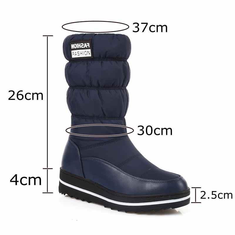 ALLBITEFO yeni Rusya kış sıcak kar botları kadın pamuk aşağı ayakkabı su geçirmez botlar kürk platformu orta buzağı çizmeler siyah