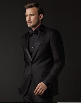 Fashion Style One Button Black Groom Tuxedos Groomsmen Men's Wedding Prom Suits Bridegroom (Jacket+Pants+Bow Tie) K:1022
