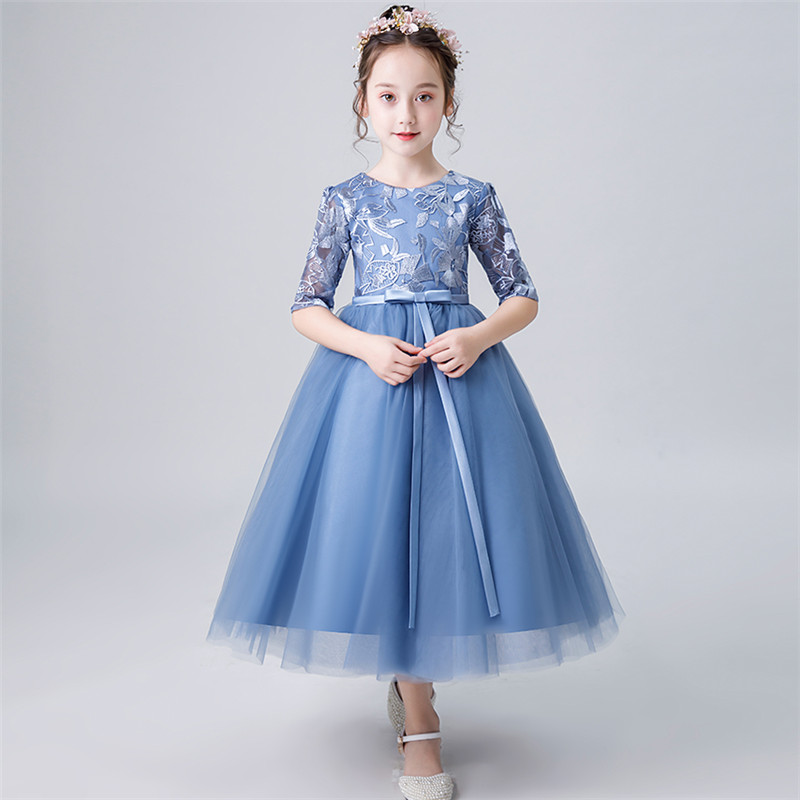 Girl Children Birthday Evening Party Dress Teens Kids Elegant Princess Lace Dresses Model Show Piano Costume Host Prom Dress elegant children girls lace princess birthday wedding party pink dresses kids babies clothing costume piano host tutu mesh dress