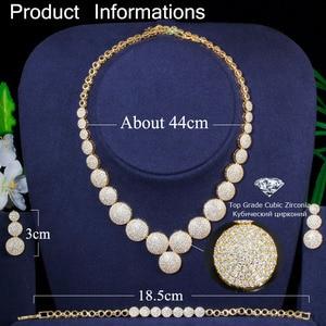 Image 5 - CWWZircons 3 Pcs Hoge Kwaliteit Kubieke Zirkoon Dubai Gouden Ketting Sieraden Set voor Vrouwen Wedding Avond Party Dress Accessoires T349
