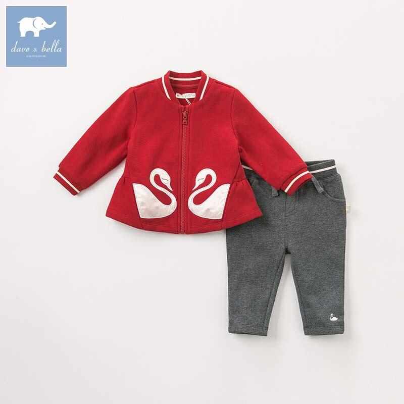 купить DBM8903 dave bella autumn infant toddler baby girls fashion clothes kids long sleeve clothing sets children 2 pcs suit по цене 2409.26 рублей