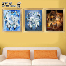 FULLCANG diy 5d diamond embroidery animal wolf triptych painting 3 piece full square/round drill mosaic pattern home decor FC649