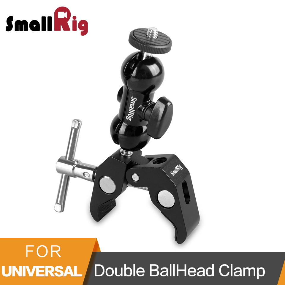 SmallRig Multi-function Double BallHead Arm Clamp For DJI Ronin Gimbal DSLR Camera+Locking Knob Kit To Mount Monitors Led -1138