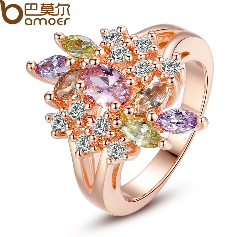 BAMOER Rose Gold Color Flower Finger Ring for Women with AAA Multicolor Cubic Zircon Wedding Jewelry JIR015