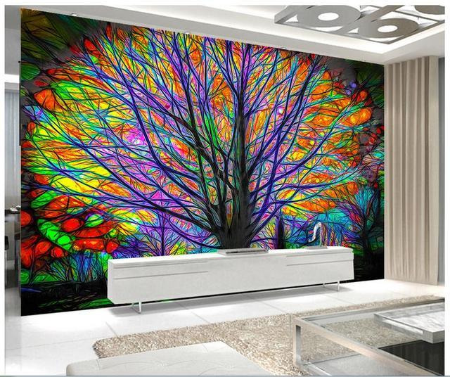 kundenspezifische 3d wandbilder wallpaper bunten baum. Black Bedroom Furniture Sets. Home Design Ideas