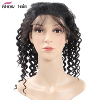 Ishow Hair Lace Front Human Hair Wigs For Black Women Deep Wave Peruvian Non Remy Hair