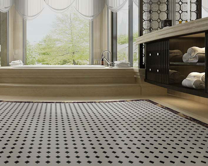 Zwart Wit Tegels : Geglazuurd porselein mozaïek tegel zwart wit keramische tegel