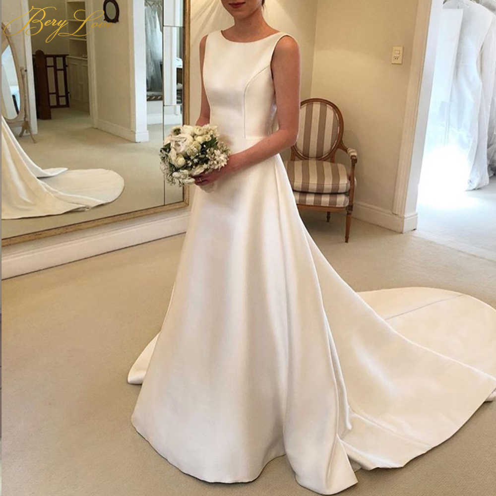2019 простые атласные свадебные платья цвета слоновой кости без рукавов трапециевидные Свадебные платья для женщин Свадебные платья со шлейфом и открытой спиной