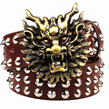 Bolsa de remache de gran cinturón de hebilla de metal correas de los hombres de cabeza de animal de la historieta del dragón de oro correa del estilo punk rock heavy metal rendimiento
