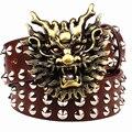 Fashion big rivet belt metal buckle men's belts cartoon animal golden dragon head heavy metal style belt punk rock performance