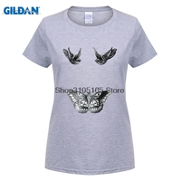 GILDAN frauen modemarke t-shirt Kurze Harry Styles Tattoo Inspiriert 1D One Direction Swag Hohe Rundhalsausschnitt Weihnachten Shirt