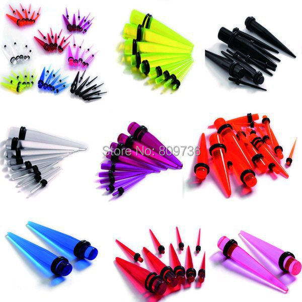 18pcs Punk Acrylic Plugs and tunnels Tapers Ear Plugs Gauge ...
