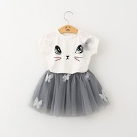 DHL SME LIBERA il trasporto delle neonate toddlers estate Cat 2 pz Set outfit T Shirt + Tutu del Pannello Esterno dei bambini Set 2 colori