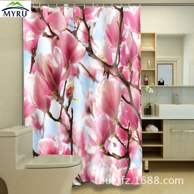 3D Printing Pink Magnolia Shower Curtain Waterproof Unique Curtains Bathroom Free Shipping