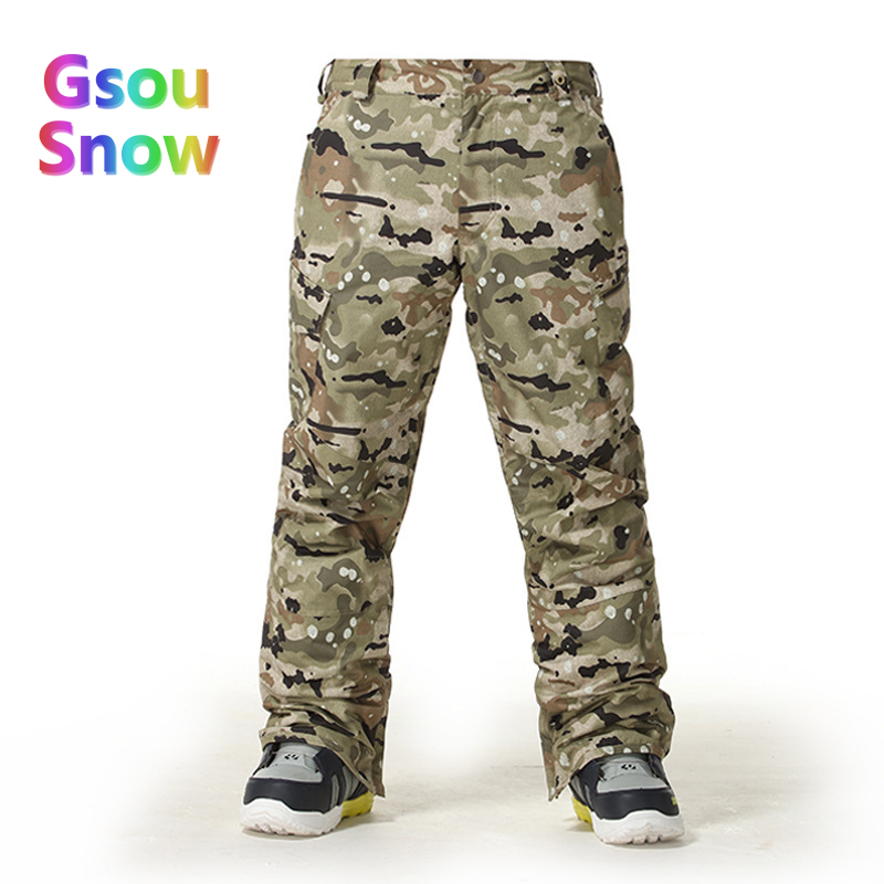 Gsou Snow Winter Outdoor Men Skiing Sports Waterproof Camouflage Ski Pants to Keep Warm Solid Color Snowboarding Trousers brand polo solid color golf pants for men male velvet elastic trousers keep warm in autumn winter spring