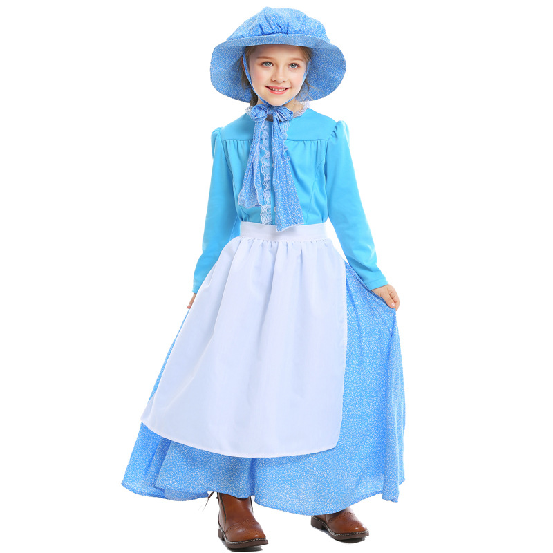 Kids Fairy Tale Colonial Period Pioneer Girls Idyllic Stage Costumes Cosplay for Girls Halloween Game Beach Children's Day