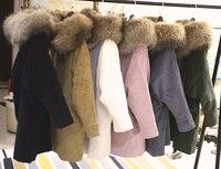 2018 New Winter Long Jacket Women Thick Parkas Real Raccoon Fur Coat Hooded Natural Warm Lamb Wool Liner Corduroy Outwear Coats