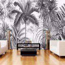 Papel pintado personalizado Beibehang, Vintage europeo, pintado a mano, blanco y negro, sofás, Mural de la selva, papel tapiz de pared de fondo de TV