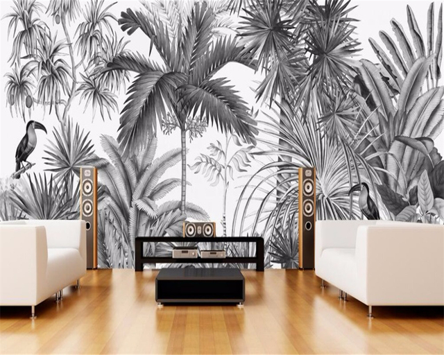 Beibehang Custom wallpaper European Vintage Hand-painted Black and white Coot Tufts Jungle Mural TV background wall wallpaper