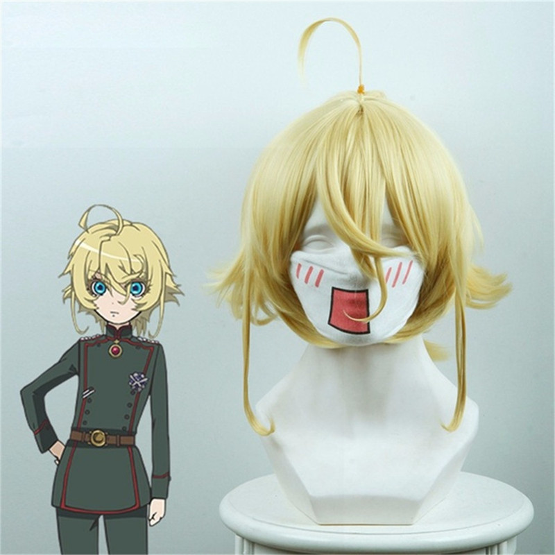 New Anime Saga of Tanya the Evil Wig Cosplay Tanya Von Degurechaff Wigs Short Blonde Yellow Party Wig with Chip Ponytail