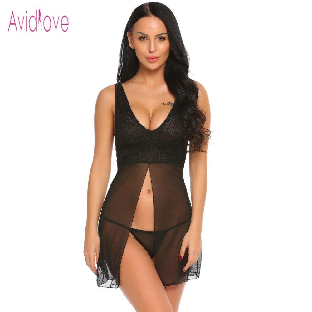 Avidlove Lady Lingerie Porno De Nuit Robe Femmes Mini Babydoll Lingerie Sexy Chaude Érotique Sous-Vêtements Chemise de Nuit Adult Sex Costumes
