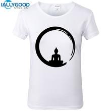 2017 New Summer Fashion Design Meditation Buddha T-shirts Women Buddhism Tops Print Shirts Slim White T Shirt S969
