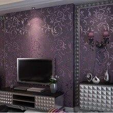 3d Papel де Parede Фиолетовый 3d Лист обои рулон винил 3d Флокирование стены Бумага рулоны для гостиной ТВ фон обои