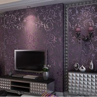 3d Papel de Parede Purple Leaf 3d Wall paper Vinyl 3d Flocking Wallpaper Rolls for Living Room SOFA Background 3d wallcoverings