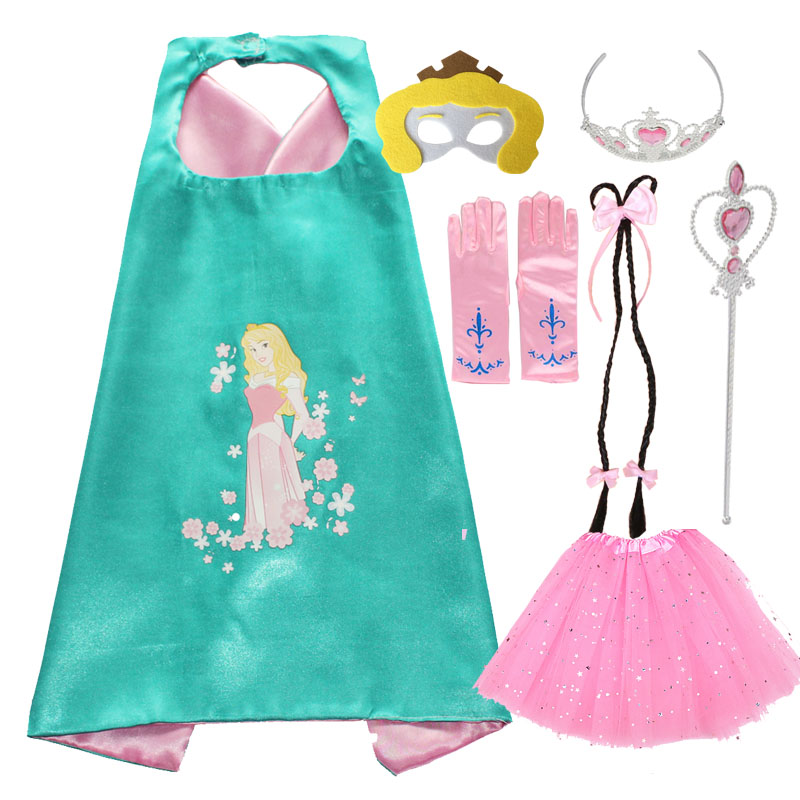 Aurora Cosplay Cape Mask Tutu Tiara Wand Glove Braid for Girls Costume Halloween Anime Cosplay Elf Costume Aqours Cosplay