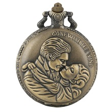 Gone with the Wind Vintage Kraft Classic Movie Quartz Pocket Watch Retro Bronze Necklace Pendant Chain Art Collectibles Gifts
