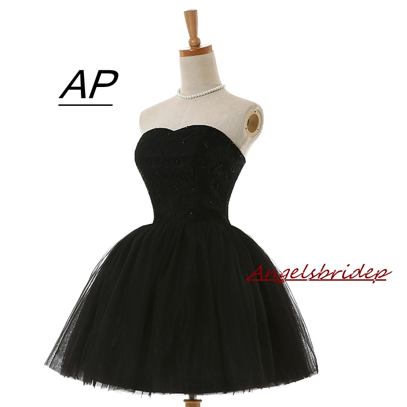 ANGELSBRIDEP Black Tulle A line Cocktail Dresses New Arrival Hot Sexy Flowing Above Knee Lace Cocktail