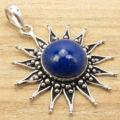 Silver Overlay LAPIS LAZULI SUN Pendant 1 5/8 inches Birthstone Jewellery