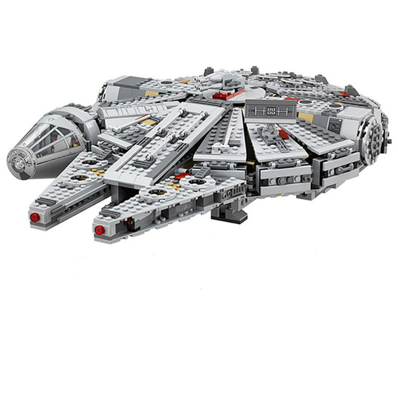 1381pcs Diy Star Wars Millennium Falcon Outer Space Space Ship Building Blocks Compatible With Legoingly Brick Toys For Children color metal 3d puzzle star wars millennium falcon for adult 2016 new batman flying wing kylo ren shuttle 3d nano jigsaw puzzles