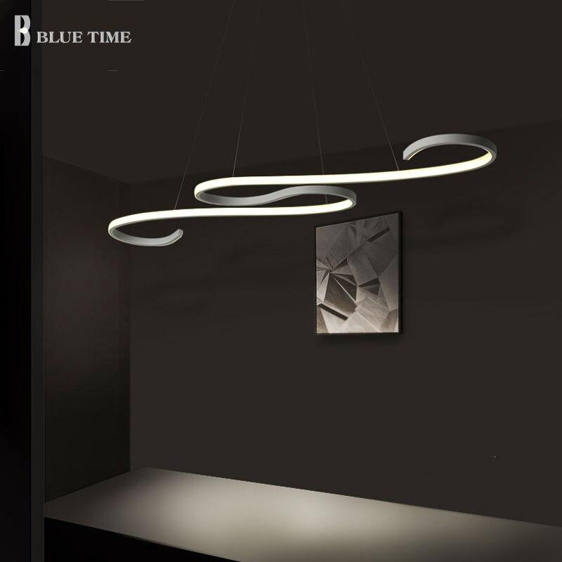 Decoration Curved Modern LED Chandelier Lights Kitchen Suspension Hanging LED Chandelier Ceiling For 10 15 Square