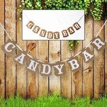 DIY Candy Bar banderines Banner para boda Vintage Baby Shower fiesta de cumpleaños Navidad Fiesta de noche dulce Decoración de mesa