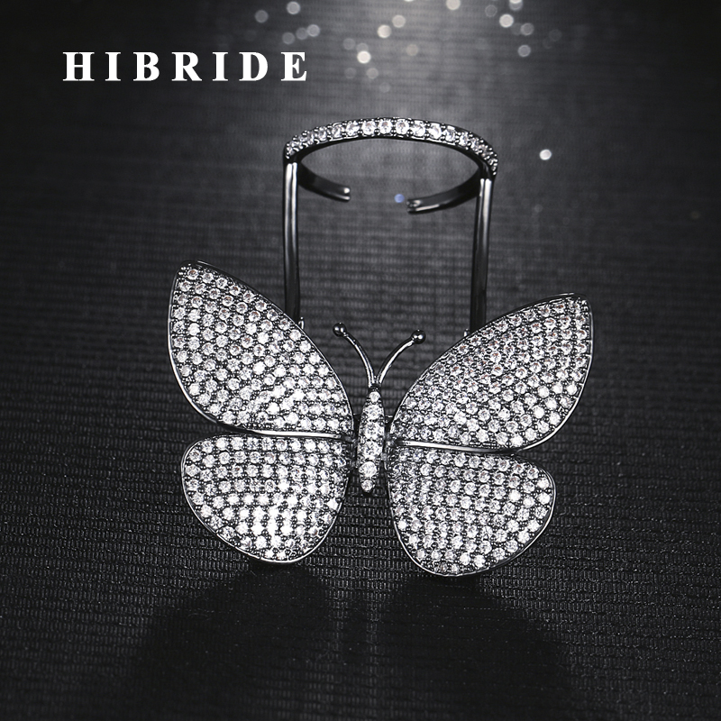 HIBRIDE Beautiful Fly Butterfly Shape Cubic Zirconia Adjustable Size Women Rings Anillos Micro CZ Stone Pave