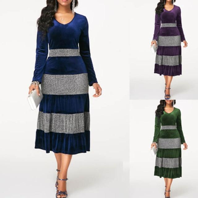 NORMOV 2019 Fashion Women Autumn Winter Plus Size Velvet Dress Elegant Party Sequin Patchwor Dress Ruffle 3 Color Midi Dresses 6