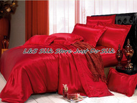 Silk bedding sets 4pcs solid red color duvet cover flat sheet pillowcase king queen Full Twin 100% mulberry silk ls2101