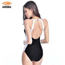 Backless Swimwear Women Beachwear-Pad Bathing-Suits Sexy High-Neck AXESEA Patchwork Solid