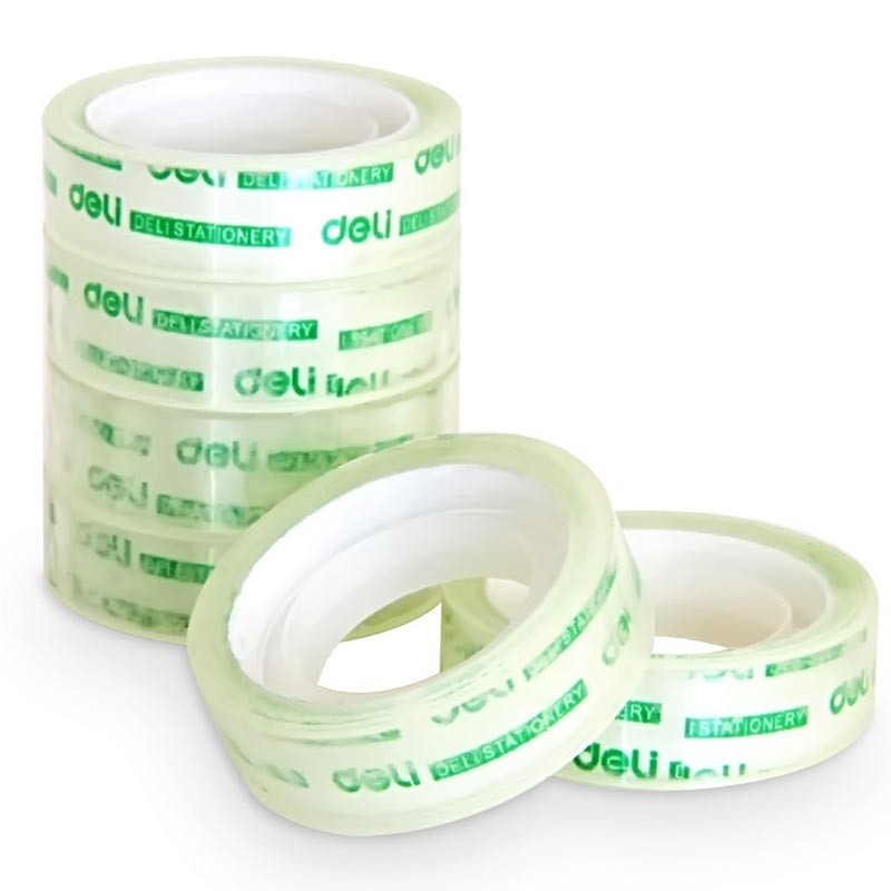 Deli 30011 Stationery Small Tape Sealing Tape Student Stationery Transparent Tape 1.2cm Single Side Adhesive Tape