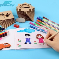 RCtown 50Pcs Children's Creative Painting Graffiti Wooden Sets DIY Multiple Style Graphics Stencil Educational Drawing Toy zk15