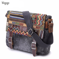 Vintage Ethnic Canvas Messenger Bag Women Chinese Shoulder Bag Female Casual National Bags Mujer Embroidery Crossbody Bag