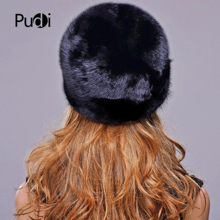 2019 real chapéu de pele de vison importado feminino boné de pele de luxo high end chapéu de pele natural senhoras inverno chapéu quente com tampão octogonal boné - 3
