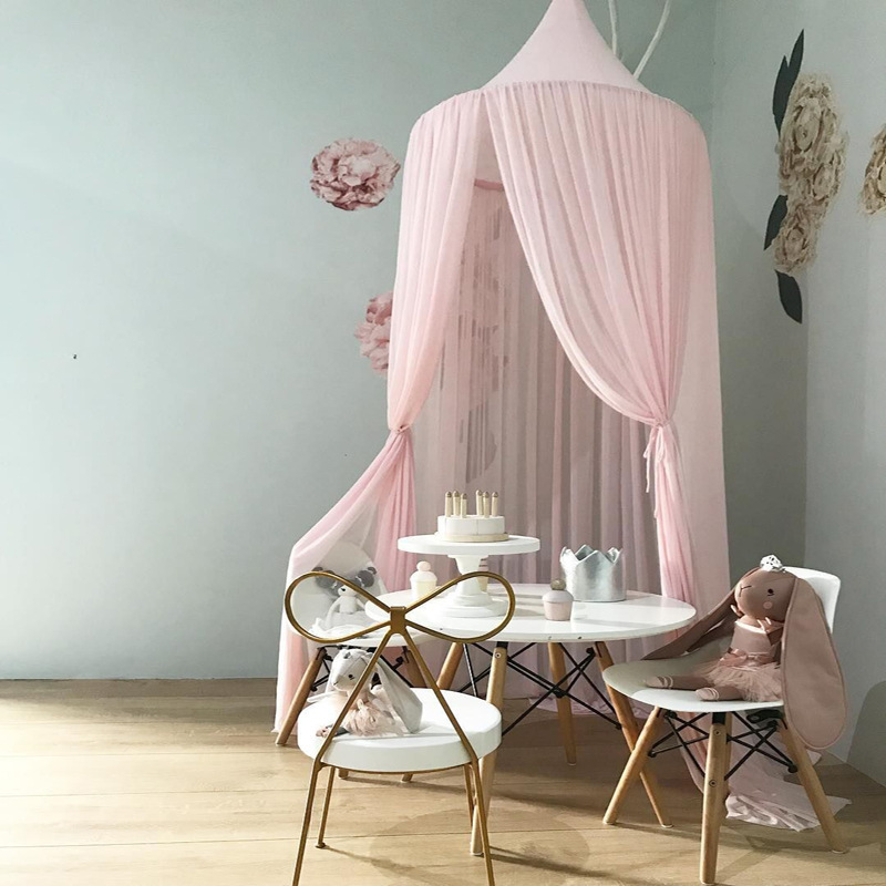 Round Dome Hanging Gauze Mosquito Net Children Curtain Chiffon Hung Net Children Crib Netting Baby Bedroom Decoration