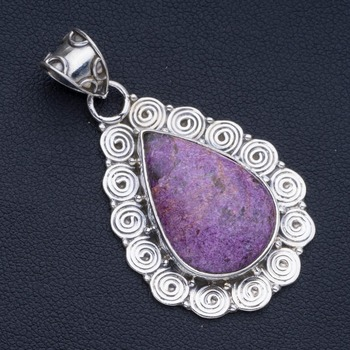 """Natural Charoite Punk Style 925 Sterling Silver Pendant 2"""" P0953"""