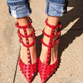 2016  Women High-Heeled Shoes Summer Style Patent Leather Buckle Rivet Tip Female Luxury Red Wedding Pumps Plus Size 8