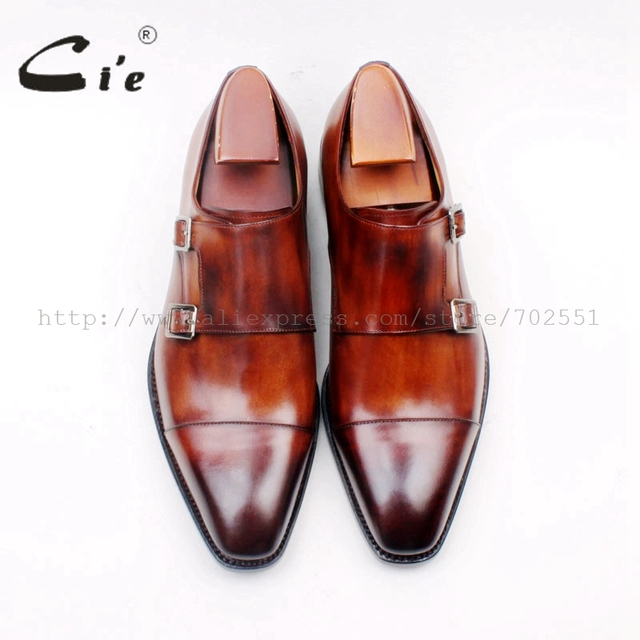 cie Square Cap Plain Toe Hand-Painted Brown Double Monk Straps 100% Genuine Calf Leather Italian Goodyear Welted  Men ShoeMS155