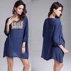Save 1.66 on 2017 Fashion Party Mini Casual Summer Style Dress Embroidery Vestidos De Festa Beach Femininas Tropical Women Dress